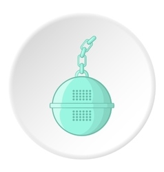 Round tea strainer icon cartoon style vector