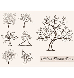 Set of 7 tree silhouettes vector