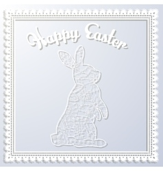 Happy Esater paper card with rabbit vector image