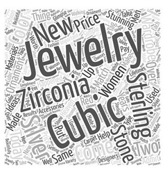 Cubic zirconia and sterling silver word cloud vector