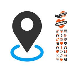 geo targeting icon with valentine bonus vector image