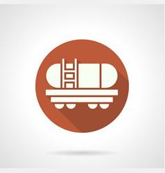Gasoline tank rail car orange round icon vector