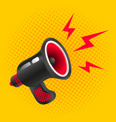 Black megaphone on yellow background vector