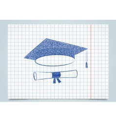 Scribble graduation cap and diploma vector image
