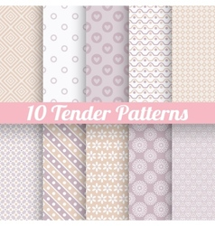Pastel loving wedding seamless patterns tiling vector