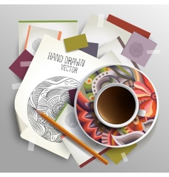 Coffee cup on sketches and paper concept idea vector
