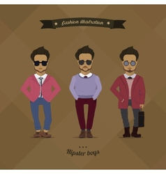 Hipster urban fashion trendy men boys colored vector