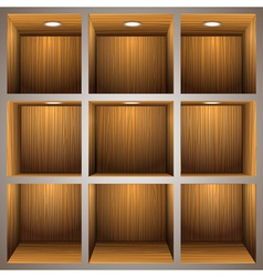 3d wooden shelves vector