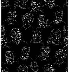 Smiling and laughing faces seamless pattern vector