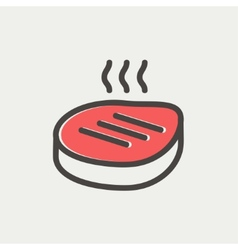 Grilled steak thin line icon vector