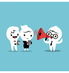 Feedback cartoon with megaphone vector
