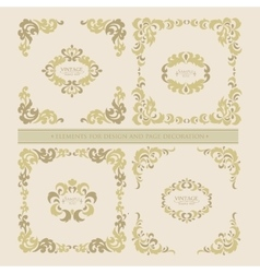 Set decorative floral elements frame vector