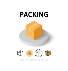 Packing icon in different style vector