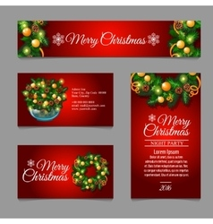 Christmas cards with fir tree branches and balls vector