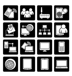 Black communication and technology equipment icons vector