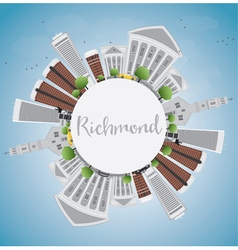 Richmond virginia skyline with gray buildings vector