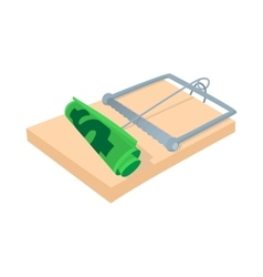 Money in a mousetrap icon cartoon style vector