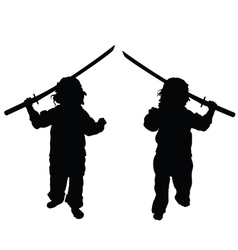 Child with samurai sword set vector
