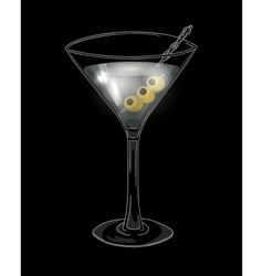 Hand drawn cocktail in martini glass with olives vector