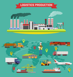 Manufacturing and logistics goods production vector