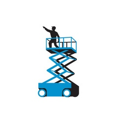 Scissor lift worker pointing retro vector