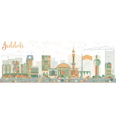 Abstract jeddah skyline with color buildings vector