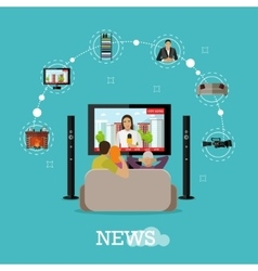 People at home watching city news on tv Concept vector image