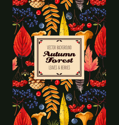 Autumn card with leaves and berries vector
