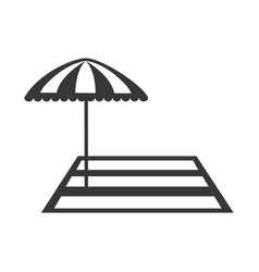 beach umbrella with rug vector image