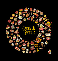 Cakes and sweets collection sketch for your vector