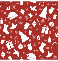 Christmas seamless red pattern vector image