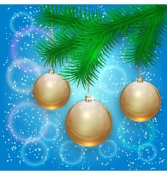 christmas with tree branch and balls on bokeh vector image vector image