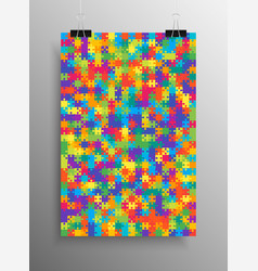 color puzzle pieces - jigsaw - vector image