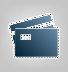 Credit card sign blue icon with outline vector