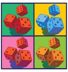 dice in pop art style vector image