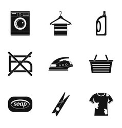 domestic washing icons set simple style vector image