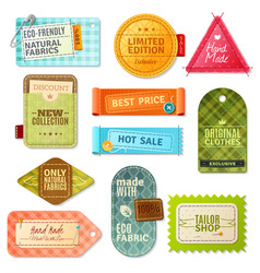 Fabric label set vector