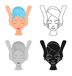 Facial massage icon in cartoon style isolated on vector