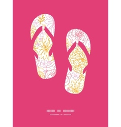 Flowers outlined flip flops silhouettes vector