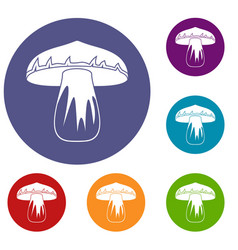 Forest mushroom icons set vector
