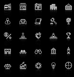 Franchise line icons with reflect on black vector