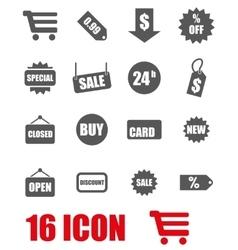 grey shopping icon set vector image vector image