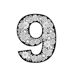 Hand drawn floral alphabet design Digit 9 vector image vector image