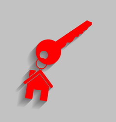 key with keychain as an house sign red vector image vector image