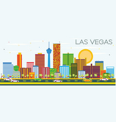 Las vegas skyline with color buildings and blue vector