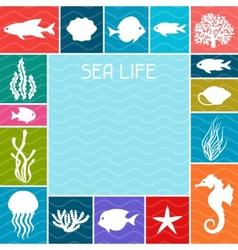 Marine life background design with sea animals vector image