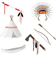 Native american set six icons vector image