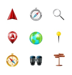 Navigation icons realistic set vector image vector image