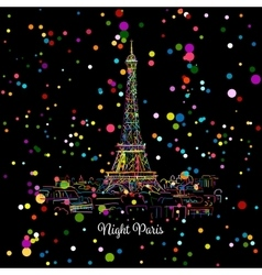 Night Pariscityscape with Eifel Tower Sketch for vector image vector image