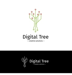 outline digital tree logotype Digital vector image